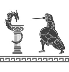 ancient hero and dragon stencil vector image vector image