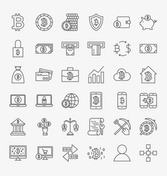 Bitcoin line icons set vector