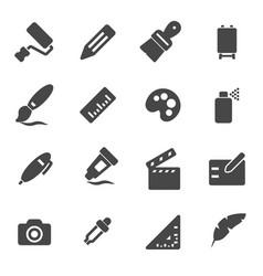 black art tools icons set vector image vector image