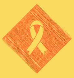 Black awareness ribbon sign red scribble vector