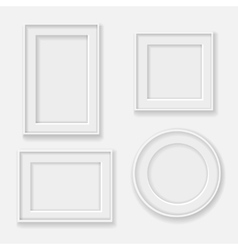 blank white picture frame template set vector image