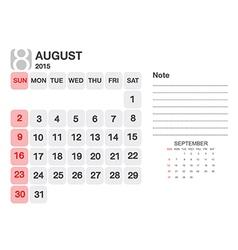 Calendar August 2015 vector image vector image