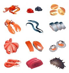 Calorie table fish and seafood vector