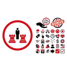 Chess Strategy Flat Icon with Bonus vector image