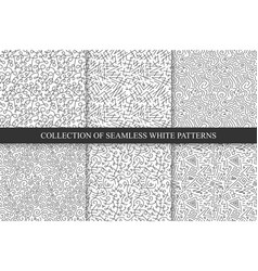 Collection of hand drawn seamless patterns vector