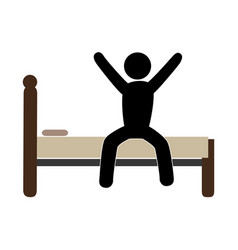 color pictogram with man in bed awake vector image