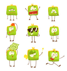 Cute green funny humanized purse showing different vector