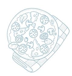 Delicious pizza with salami vector