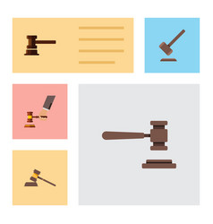 Flat icon court set of court tribunal government vector