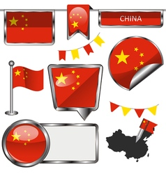 Glossy icons with Chinese flag vector image vector image