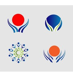 Hand and sun logo people group icon sign vector image vector image