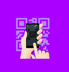 Hand holding smartphone with conceptual qr code vector