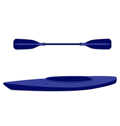 Kayak boat and oar vector image