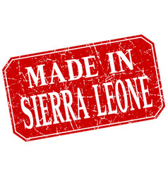Made in sierra leone red square grunge stamp vector