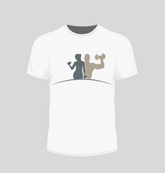 men s white t-shirt - gym icon vector image vector image