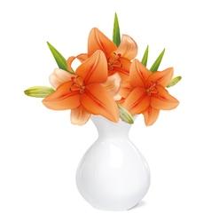 Orange lily in white vase vector image