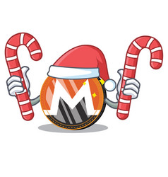 Santa with candy monero coin character cartoon vector