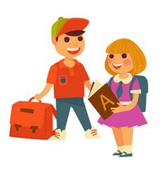 school boy and girl children rucksacks and vector image