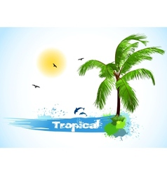 Sea and coconut palm vector image vector image