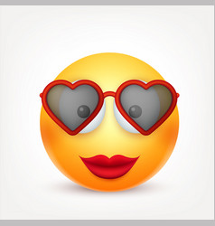 Smiley emoticon with glasses yellow face with vector