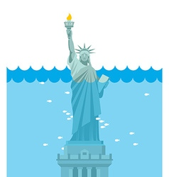 Statue of liberty flood usa attraction underwater vector