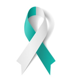 Teal and white ribbon vector