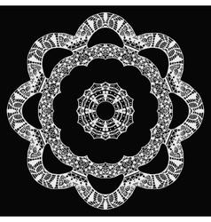 White flower zentangle style pattern on black vector
