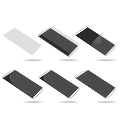 White smartphones screen protector set different vector image vector image