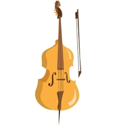 Wooden cello with bow vector image