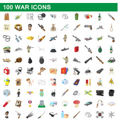 100 war icons set cartoon style vector image