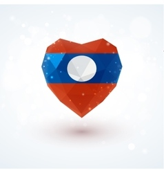 Flag of laos in shape diamond glass heart vector