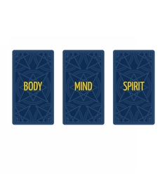 Three card tarot spread body mind and spirit vector