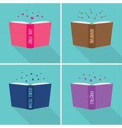 Set of fiction genre icons vector