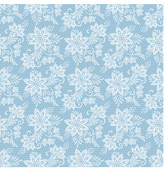 Seamless floral lace pattern flowers on blue vector