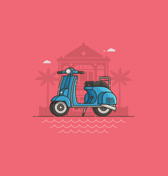 Blue scooter on villa background vector