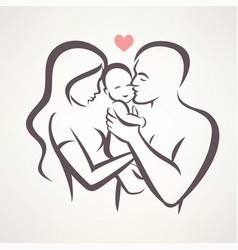 Happy family stylized symbol young parents and vector