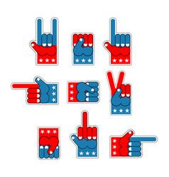 Foam finger usa patriot american hand symbol vector