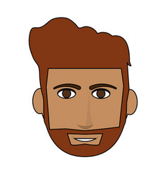 Color image cartoon front face guy with beard and vector