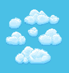 sky with clouds pixel art cloudscape vector image