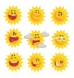 Cute cartoon sun emojis emotional face set of vector