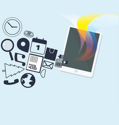 Tablet with media icons and colorful vector
