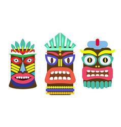 Tiki mask cartoon set vector