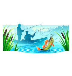 Fishermen fishing in boat vector