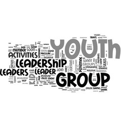 Youth leadership activities text word cloud vector