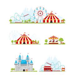 Amusement park banner set vector