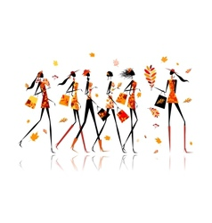 Girls with shopping bags autumn sale for your vector
