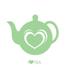 Teapot with heart vector