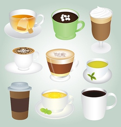 Basic hot drinks set vector