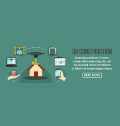 3d contruction banner horizontal concept vector