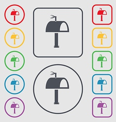 Mailbox icon sign symbol on the round and square vector
